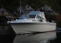 Wellcraft fisning boat from Island Tides BC fishing lodge.